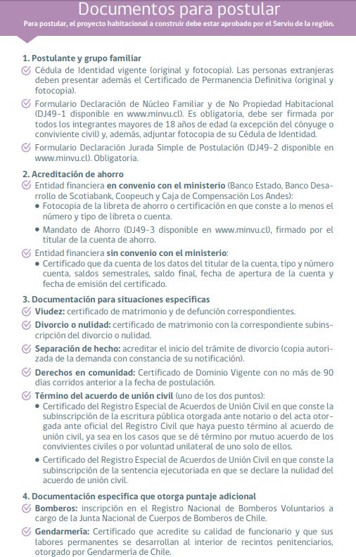 Documentos Postulación Presencial Subsidio ds49 2018